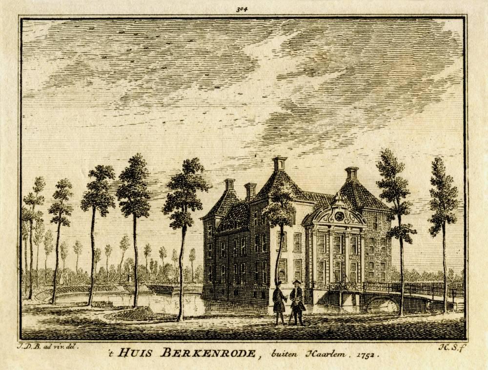 Berkenrode in Heemstede. Tekening Jan de Beijer, gravure Hendrik Spilman (Uit: Het Verheerlykt Nederland, Isaac Tirion, 1745/1774)